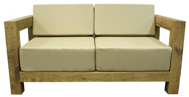 Casa Padrino Luxus Massivholz Gartenmöbel Set Beige / Naturfarben - 3 Sofas & 1 Couchtisch - Moderne Eichenholz Garten & Terrassen Möbel - Vorschau 5