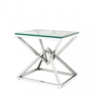 Casa Padrino Luxus Beistelltisch Edelstahl Nickel Finish 65 x 50 x H 60 cm - Tisch Möbel