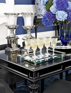 Casa Padrino Glas Vase Blau Ø 20 x H. 30 cm - Luxus Deko Blumenvase - Vorschau 2