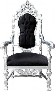 Casa Padrino Barock Thron Sessel Schwarz / Silber Königssessel - Hochzeitssessel - Riesensessel