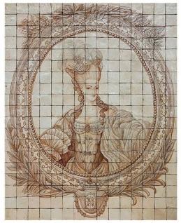 Casa Padrino Luxus Barock Deko Wandgemälde Lady Cremefarben / Beige 150 x H. 190 cm - Handgefertigte & Handbemalte Naturstein Mosaik Fliesen - Barock Wanddeko