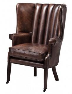 Luxus Echtleder Ohrensessel Elegance Chesterfield Vintage Dunkelbraun - Sessel mit echtem Leder