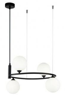 Casa Padrino Luxus Hängeleuchte Schwarz / Weiß Ø 39 x H. 28 cm - Moderne höhenverstellbare Metall Hängelampe mit runden Glas Lampenschirmen