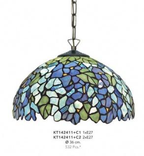 Handgefertigte Tiffany Hängeleuchte von Casa Padrino, Durchmesser 36 cm, 1-Flammig - Leuchte Lampe - wunderschöne Tiffany Deckenleuchte
