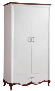 Casa Padrino Luxus Art Deco Schlafzimmerschrank Weiß / Dunkelbraun 114 x 62, 5 x H. 209, 5 cm - Kleiderschrank mit 2 Türen und Schublade - Schlafzimmermöbel