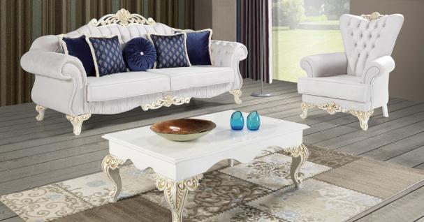 Casa Padrino Barock Wohnzimmer Set Hellgrau / Weiß / Creme / Gold - 2 Sofas & 2 Sessel & 1 Couchtisch - Edle Wohnzimmer Möbel im Barockstil