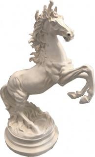 Casa Padrino Deko Skulptur Wildes Pferd Weiß H. 64 cm - Elegante Kunstharz Dekofigur - Wohnzimmer Büro Deko Accessoires