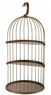 Casa Padrino Designer Etagere 3-Stufig mit Tragegriff Antik Messingfarben Ø 16, 5 x H. 35, 5 cm - Luxus Messing Etagere im Vogelkäfig Design - Vorschau 3