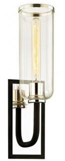 Casa Padrino Luxus Wandleuchte Schwarz / Silber 14 x 15, 9 x H. 50, 2 cm - Hotel & Restaurant Lampe mit Glas Lampenschirm