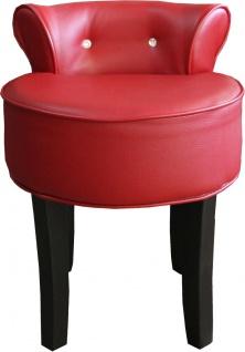 Casa Padrino Designer Hocker Boston Bordeaux-Rot/Schwarz mit Bling Bling Steinen - Barock Schminktisch Stuhl