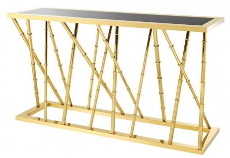 Casa Padrino Luxus Konsole Gold / Schwarz 139, 5 x 40 x H. 78 cm - Luxus Möbel