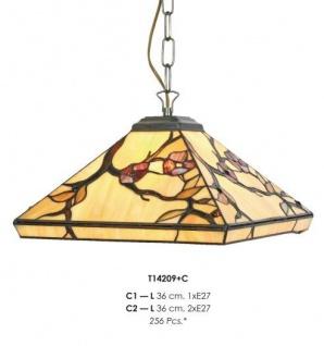 Handgefertigte Tiffany Pendelleuchte Hängeleuchte Länge 36 cm, 2-Flammig - Leuchte Lampe