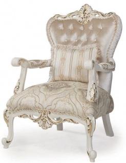 Casa Padrino Luxus Barock Sessel Mehrfarbig / Weiß / Gold 88 x 88 x H. 115 cm - Wohnzimmer Sessel mit dekorativem Kissen - Wohnzimmermöbel im Barockstil