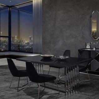 Casa Padrino Luxus Esszimmer Möbel Set Silber / Schwarz - 1 Esstisch & 6 Esszimmerstühle - Esszimmer Möbel - Luxus Qualität