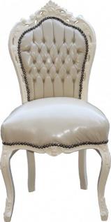 Casa Padrino Barock Esszimmer Stuhl Creme/Creme Lederoptik - Möbel Antik Stil