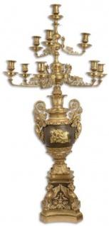 Casa Padrino Barock Kerzenhalter Gold / Bronze 62 x 62 x H. 122, 5 cm - Prunkvoller vergoldeter Bronze Kerzenständer 10 flammig - Edel & Prunkvoll
