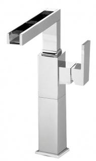 Luxus Badezimmer Waschtischarmatur Silber H. 31 cm - Einhand-Waschtischbatterie mit Wasserfall-Auslauf