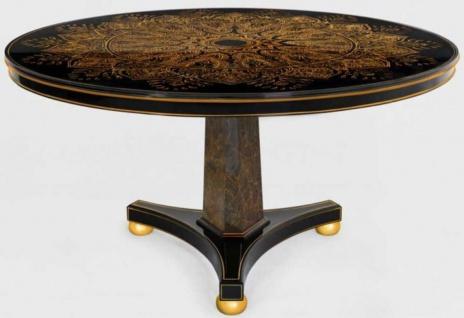 Casa Padrino Luxus Esstisch Schwarz / Bronzefarben / Gold Ø 150 x H. 78 cm - Runder Massivholz Küchentisch - Esszimmertisch - Luxus Esszimmer Möbel