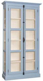 Casa Padrino Landhausstil Vitrine Hellblau / Cremefarben 109 x 40 x H. 210 cm - Massivholz Schrank mit 2 Glastüren - Vitrinenschrank - Landhausstil Möbel