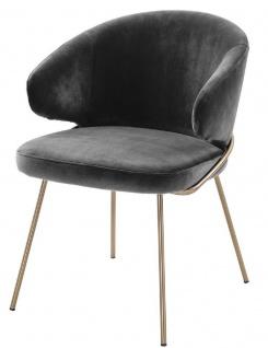 Casa Padrino Luxus Esszimmerstuhl mit Armlehnen Dunkelgrau / Messingfarben 60 x 64 x H. 81 cm - Küchenstuhl mit edlem Samtstoff - Esszimmermöbel