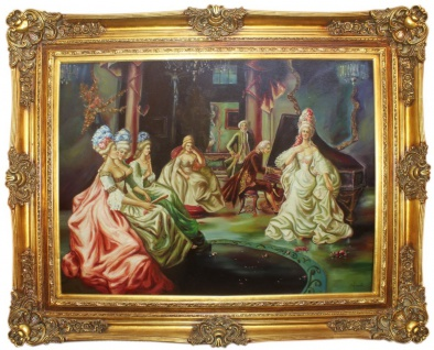 Casa Padrino Barock Ölgemälde Klassisches Konzert Mehrfarbig / Gold 160 x 10 x H. 130 cm - Handgemaltes Gemälde mit prunkvollem Rahmen im Barockstil - Barock Möbel