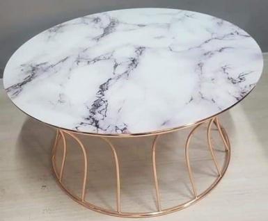 Casa Padrino Luxus Couchtisch Kupferfarben / Weiß Ø 90 x H. 45 cm - Runder Wohnzimmertisch mit Marmorplatte - Wohnzimmer Möbel - Vorschau