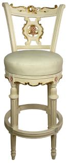 Casa Padrino Barock Barstuhl Creme / Gold / Rosa H. 130 cm - Drehbarer Massivholz Barhocker mit Kunstleder - Barock Barmöbel