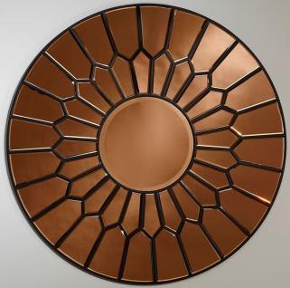 Casa Padrino Luxus Spiegel Kupferfarben / Schwarz Ø 100 cm - Eleganter runder Wandspiegel - Luxus Möbel
