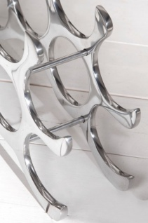 Designer Weinregal für 10 Flaschen aus poliertem Aluminium Höhe: 28 cm, Breite: 48 cm, Tiefe: 11cm - Flaschenhalter, Flaschenablage - Vorschau 4