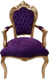 Casa Padrino Barock Esszimmer Stuhl Lila / Gold - Antik Stil Möbel