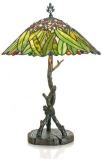 Casa Padrino Tiffany Tischleuchte Hockerleuchte Bananenblätter 40 cm ModX4a - Leuchte Lampe