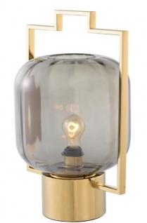 Casa Padrino Luxus Tischleuchte Gold / Grau 32 x H. 48, 5 cm - Hotel & Restaurant Tischlampe
