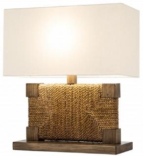 Casa Padrino Luxus Tischleuchte Braun / Naturfarben / Weiß 40 x 18 x H. 45 cm - Wohnzimmerlampe