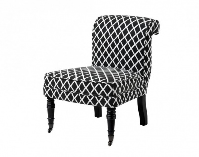Casa Padrino Luxus Salon Stuhl Birkenholz Schwarz Weiß - Luxus Möbel