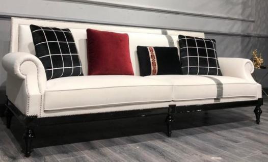 Casa Padrino Luxus Barock Sofa Weiß / Silber / Schwarz - Edles Wohnzimmer Sofa im Barockstil - Barock Wohnzimmer Möbel
