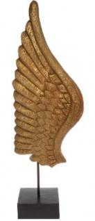 Casa Padrino Luxus Deko Holz Flügel mit Sockel Naturfarben / Schwarz 24 x 13 x H. 66 cm - Deko Accessoires