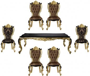 Casa Padrino Luxus Barock Esszimmer Set Braun / Schwarz / Gold - 1 Esstisch & 6 Esszimmerstühle - Prunkvolle Esszimmer Möbel im Barockstil