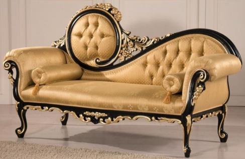 Casa Padrino Luxus Barock Wohnzimmer Sofa Gold / Schwarz 170 x 70 x H. 100 cm - Wohnzimmer Möbel im Barockstil - Edel & Prunkvoll