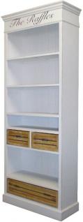 Casa Padrino Landhausstil Bücherschrank Antik Weiß / Naturfarben 86 x 35 x H. 198 cm - Landhausstil Möbel