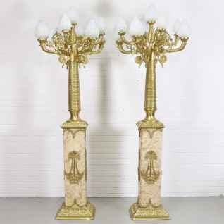 Casa Padrino Barock Stand Kronleuchter mit Marmor Säulen Set Mod1 Creme / Gold - Edel & Prunkvoll