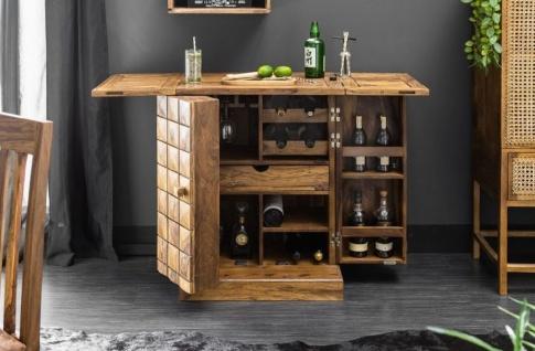 Casa Padrino Designer Barschrank Naturfarben / Braun 65-130 x 50 x H. 90 cm - Moderner Massivholz Weinschrank mit 2 Türen und Schublade - Barmöbel