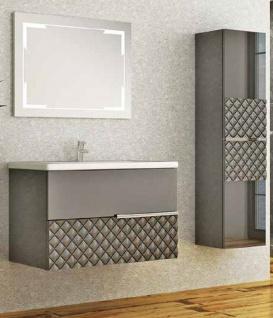 Casa Padrino Luxus Badezimmer Set Grau / Schwarz - 1 Waschtisch und 1 Waschbecken und 1 LED Wandspiegel und 1 Hängeschrank - Luxus Kollektion