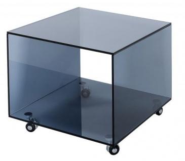 Casa Padrino Wohnzimmer Beistelltisch mit Rollen aus Glas Anthrazit 50 x 50 x H. 45 cm - Designer Möbel