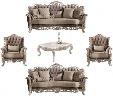 Casa Padrino Luxus Barock Wohnzimmer Set Braun / Beige / Weiß / Gold - 2 Sofas & 2 Sessel & 1 Couchtisch - Edle Barock Wohnzimmer Möbel