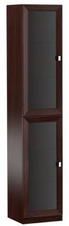 Casa Padrino Luxus Wohnzimmerschrank mit 2 Glastüren Dunkelbraun / Silber 45, 4 x 44, 2 x H. 225, 6 cm - Luxus Kollektion
