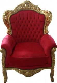 Casa Padrino Barock Sessel King Rot/Gold Mod2 - Möbel Antik Stil