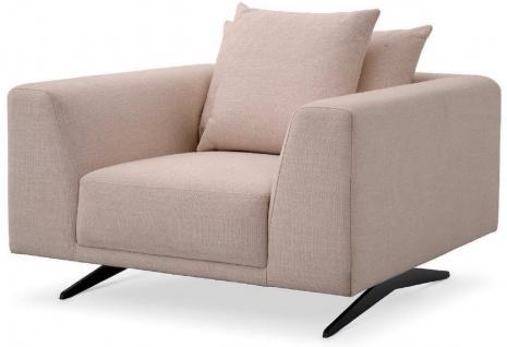 Casa Padrino Luxus Wohnzimmer Sessel mit Kissen Sandfarben / Bronze 110 x 108 x H. 64 cm - Wohnzimmer Möbel - Luxus Möbel