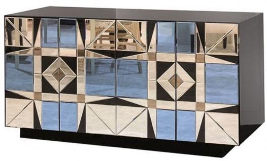 Casa Padrino Luxus Sideboard Schwarz / Blau 140 x 45 x H. 80 cm - Massivholz Schrank mit 4 verspiegelten Türen - Luxus Möbel