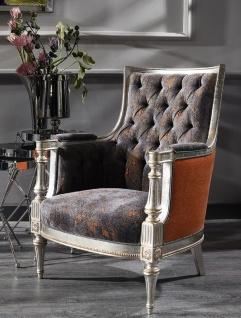 Casa Padrino Luxus Barock Sessel Lila / Orange / Silber - Handgefertigter Wohnzimmer Sessel im Barockstil - Barock Wohnzimmer Möbel