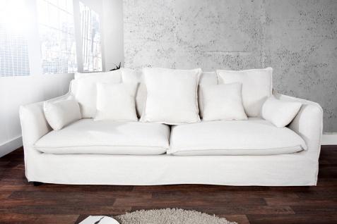 Casa Padrino Designer Wohnzimmer 3er Sofa weiss- Luxus Qualität